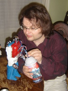 Sharing a drink with my new Botcon friend: Dignity? What dignity?