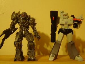 ROTF Megatron versus G1 Megatron: Autobot Leaders have the Matrix; Decepticon Leaders get the Laserbeak.